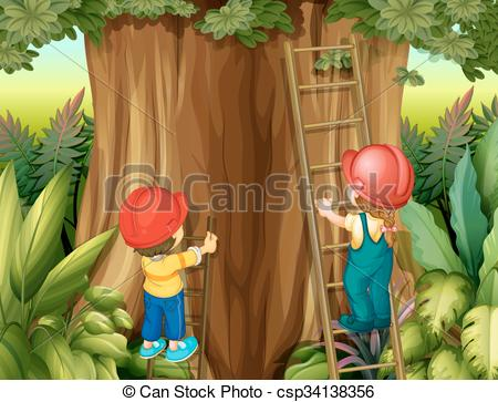 Clipart Vector of Boy and girl climbing ladder up the tree.