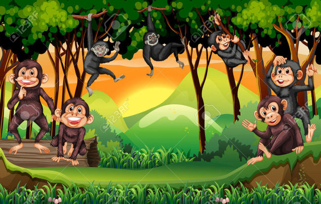 Monkeys Climbing Tree In The Jungle Illustration Royalty Free.