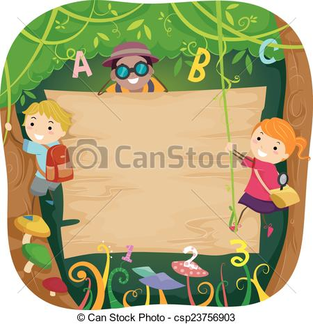 Vector Clipart of Stickman Kids Forest Board.