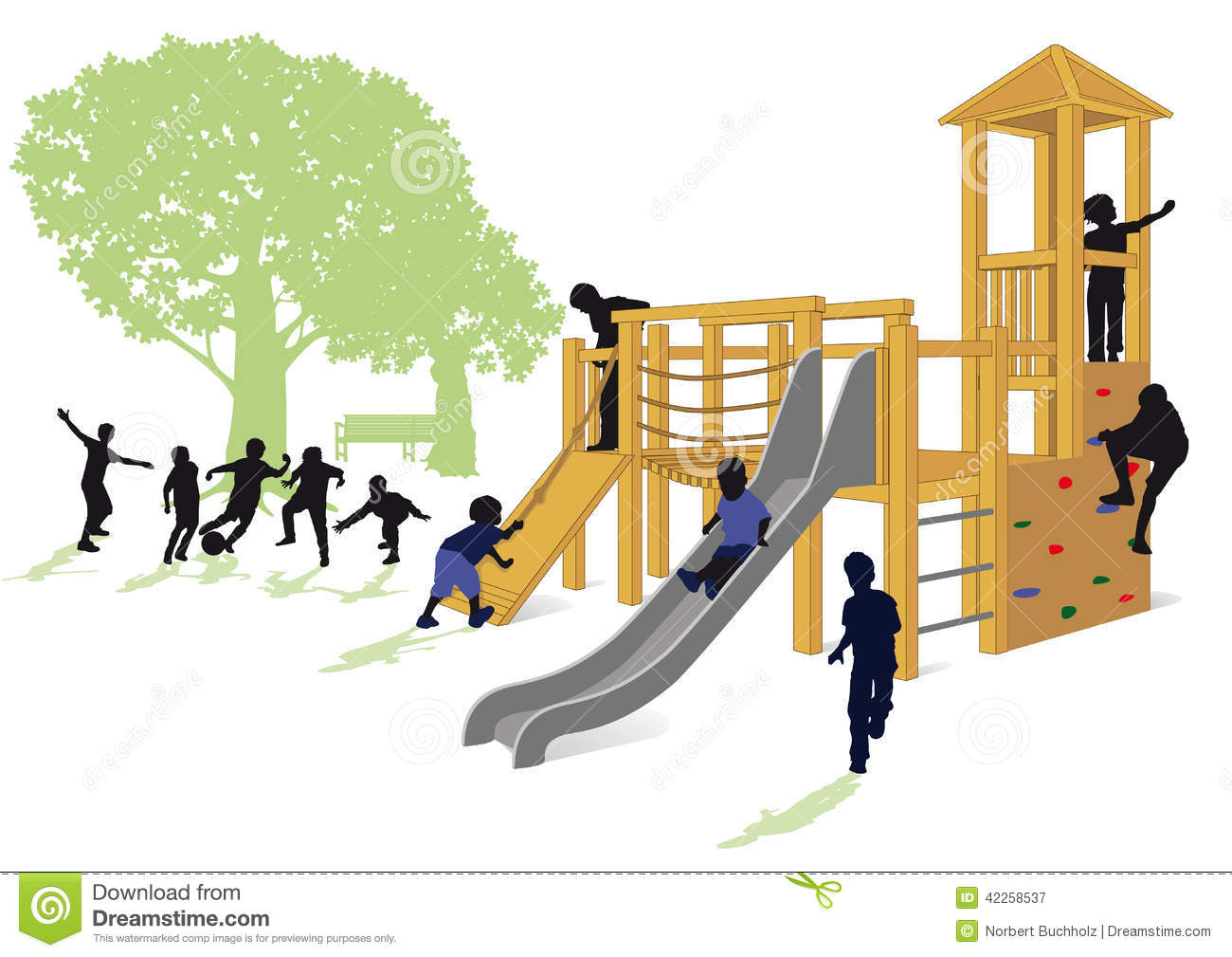 Children Playing In A Park Stock Vector.