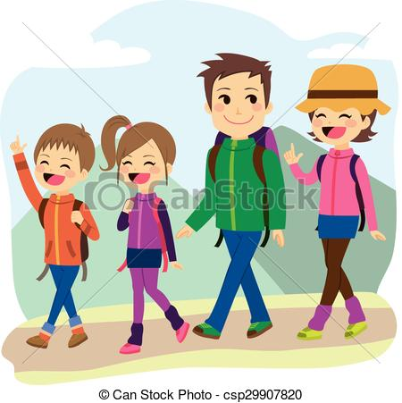 Vector Illustration of Happy Family Climbing.