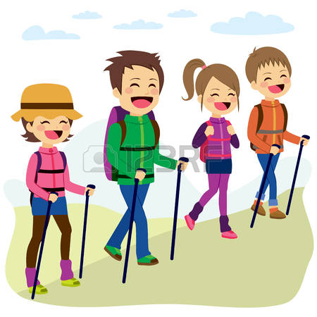 93 family hiking clipart vector flat illustration of