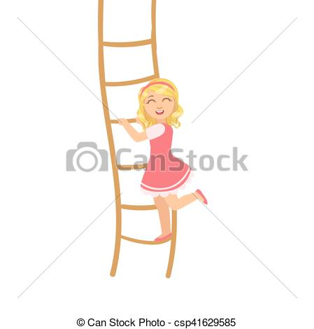 Vector of Girl In Pink Dress Climbing Rope Ladder Simple Design.
