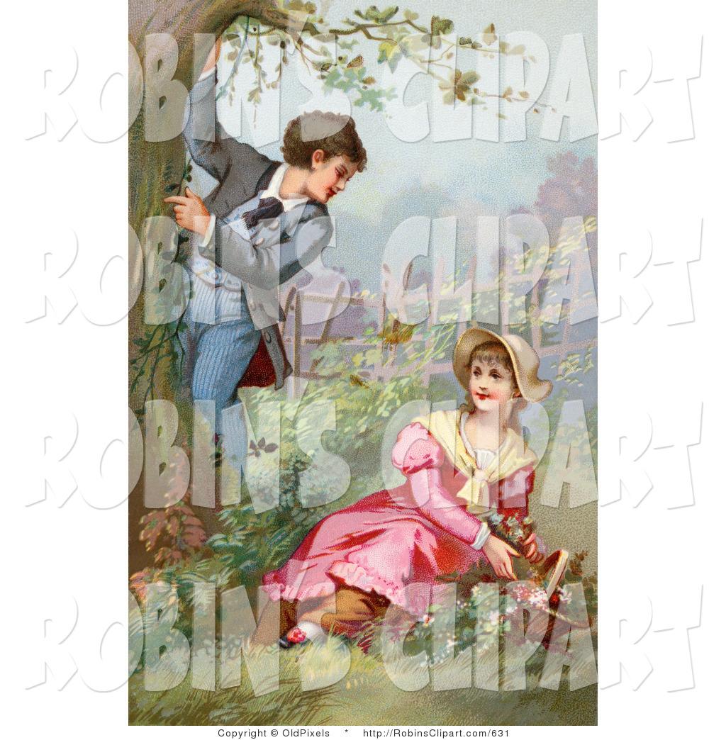 Clip Art of a Vintage Victorian Scene of a Little Boy Climbing a.