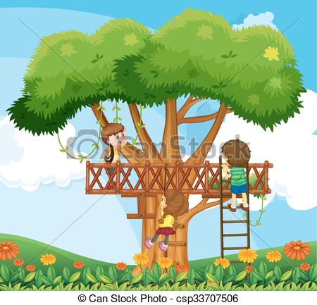 Vector Clipart of Children climbing up the tree in the garden.