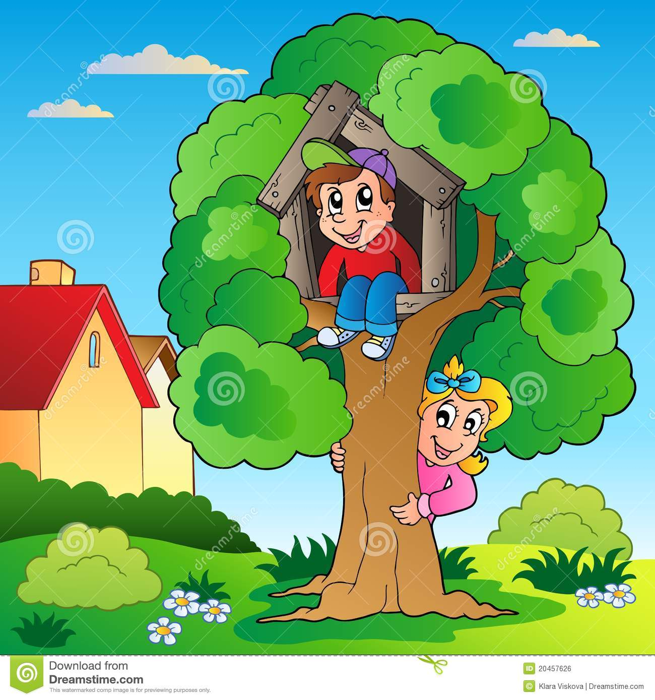 Two kids climbing a tree boy girl clipart.