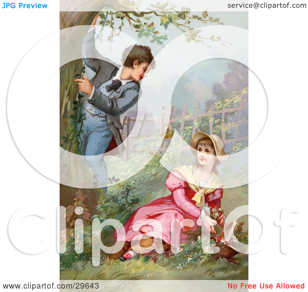 Clipart Illustration of a Vintage Victorian Scene Of A Little Boy.