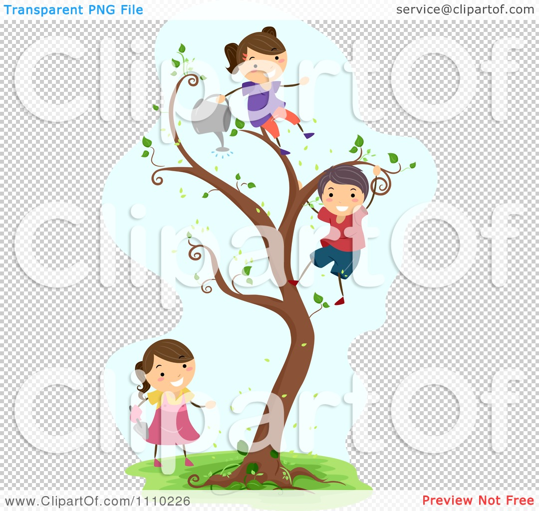 Clipart Happy Children Watering Planting And Climbing A Magic Tree.