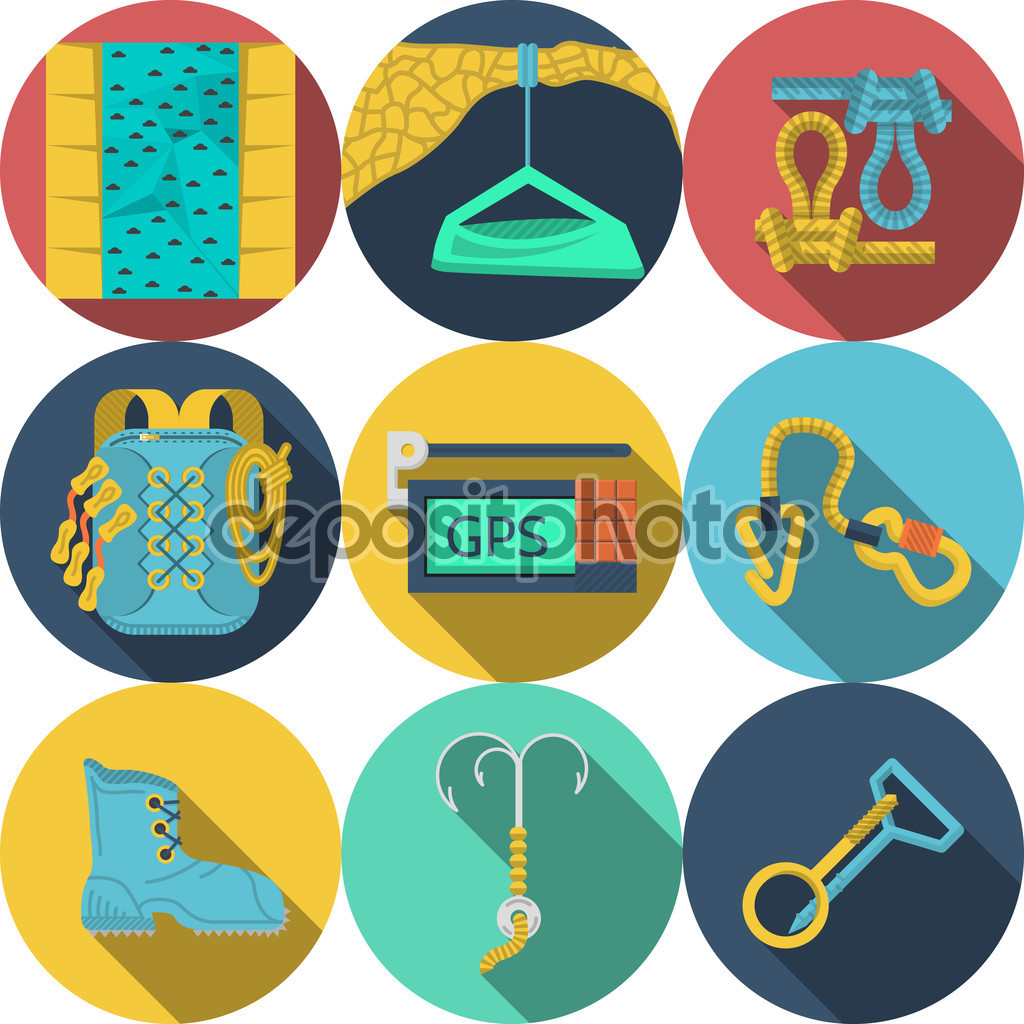 Flat vector icons for climbing equipment — Stock Vector.