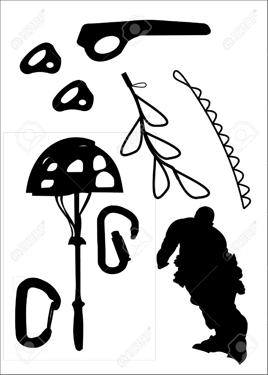 Silhouettes Of Various Rock Climbing Gear, Protection And A.