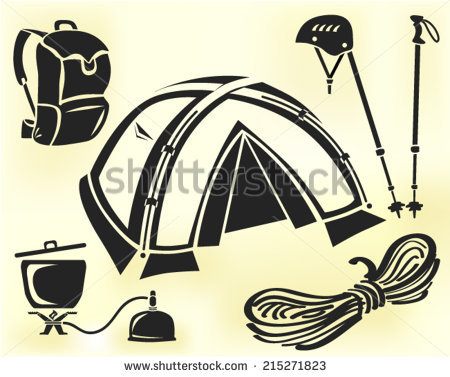 Mountain Climbing Gear Vector Set Tent Stock Vector 215271823.