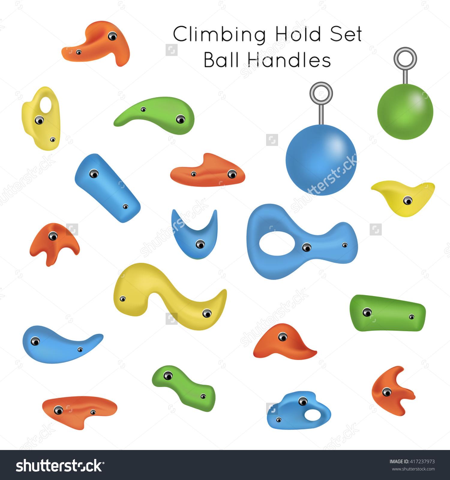 Training Set Colorful Climbing Grips Climbing Stock Vector.
