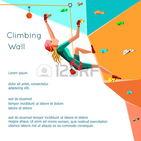 Training Climbing Wall With Grips And Holds. Rock Climbing Girl.