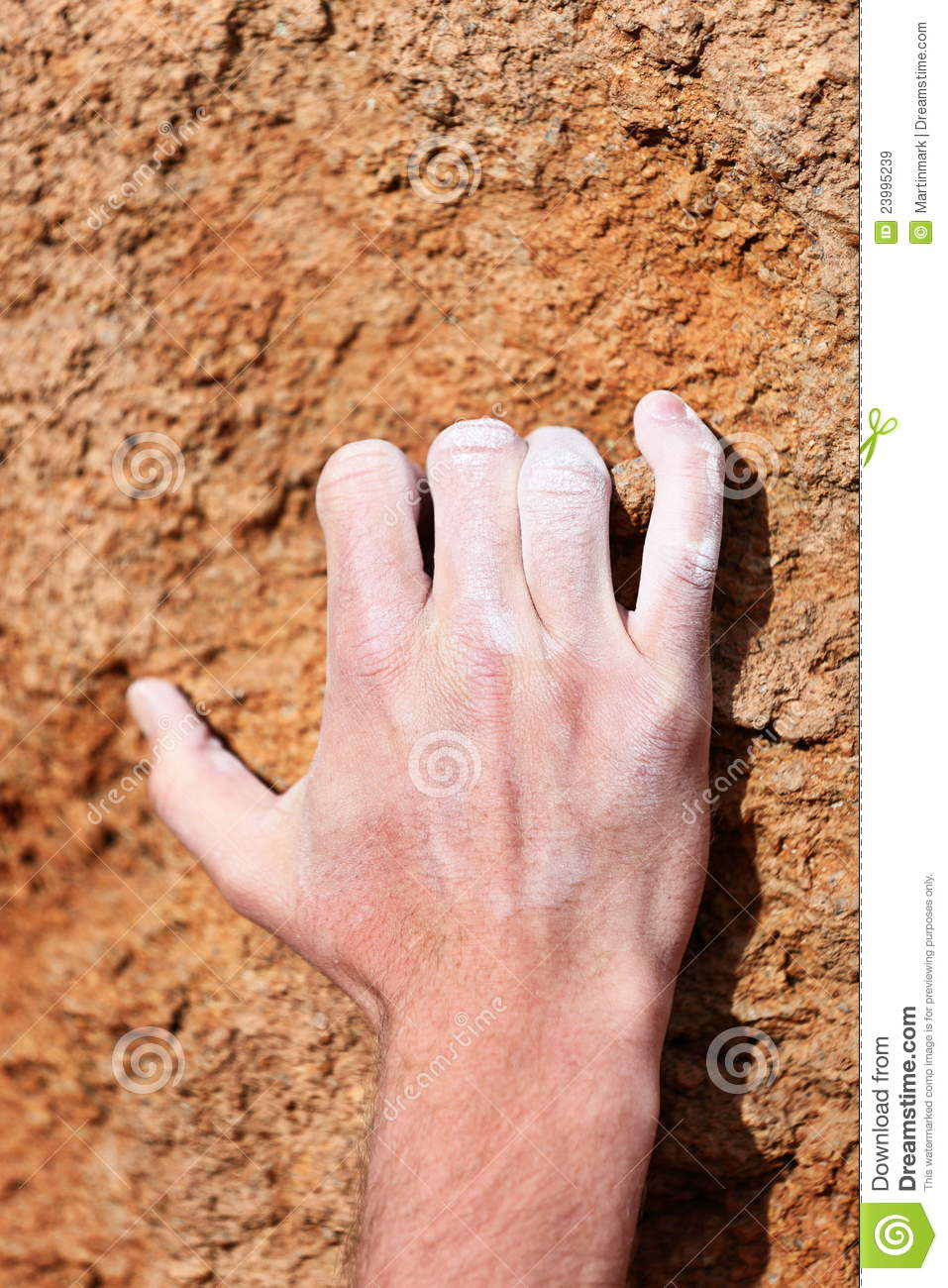 Climbing Hand Grip On Rock Royalty Free Stock Images.