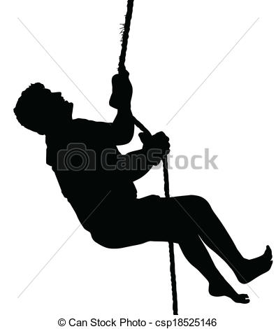 EPS Vector of Barefoot Male Mountain Climber with Harness.