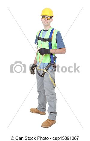 Pictures of Man Wearing Safety Climbing Harness.
