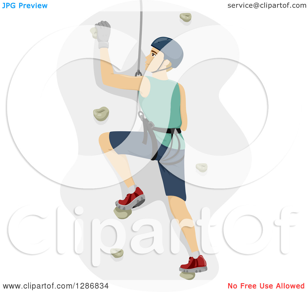 Clipart of a Dirty Blond White Man Climbing a Wall in a Harness.