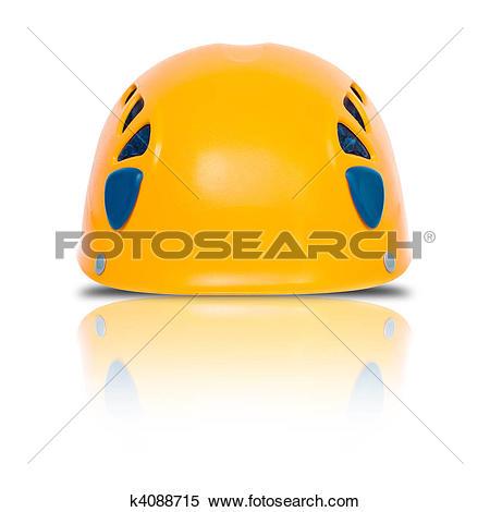 Stock Image of front view of orange climbing helmet k4088715.