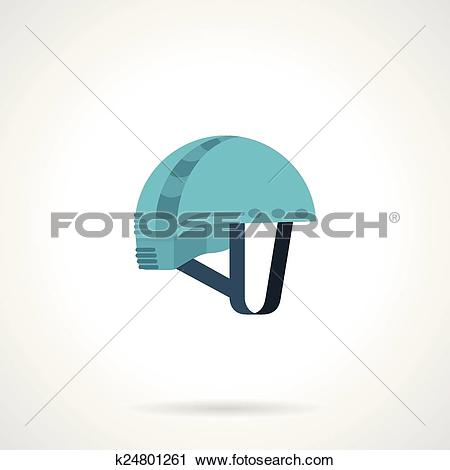 Clipart of Flat color icon for climbing helmet k24801261.
