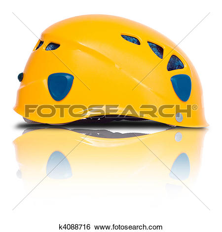 Stock Images of right side view of orange climbing helmet k4088716.