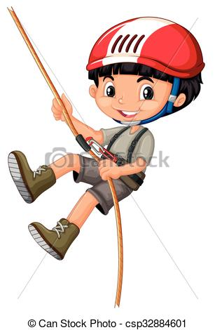 Vector Clipart of Boy in climbing gears holding a rope.