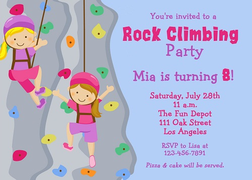 Rock Climbing Birthday Invitations Ideas.