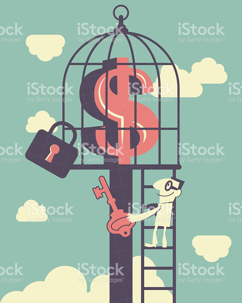 Businessman Climbing Ladder Holding Key Money Symbol Inside Of.