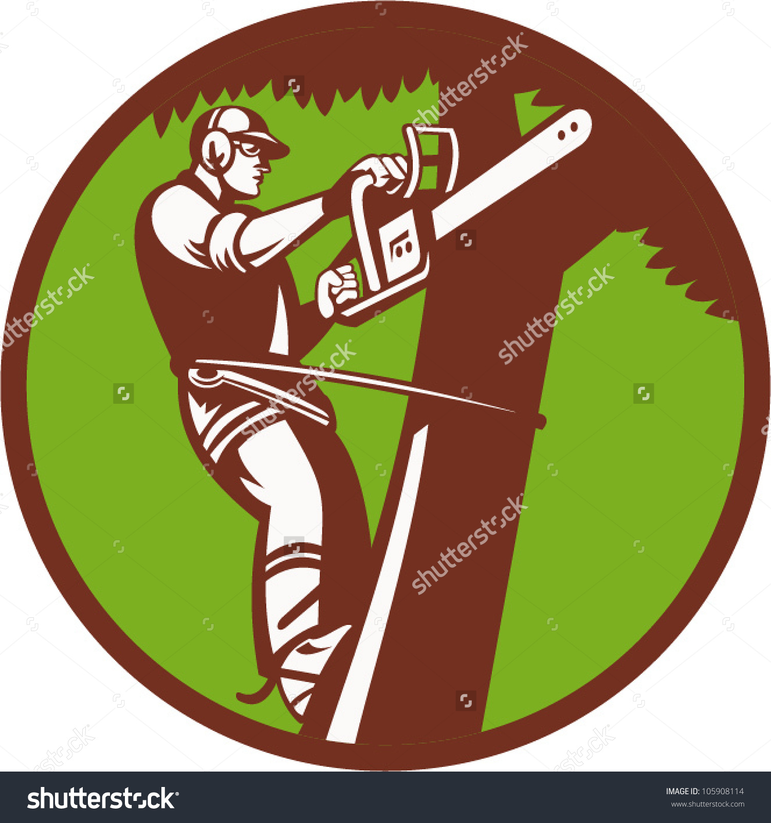 Illustration Tree Surgeon Arborist Trimmer Pruner Stock Vector.