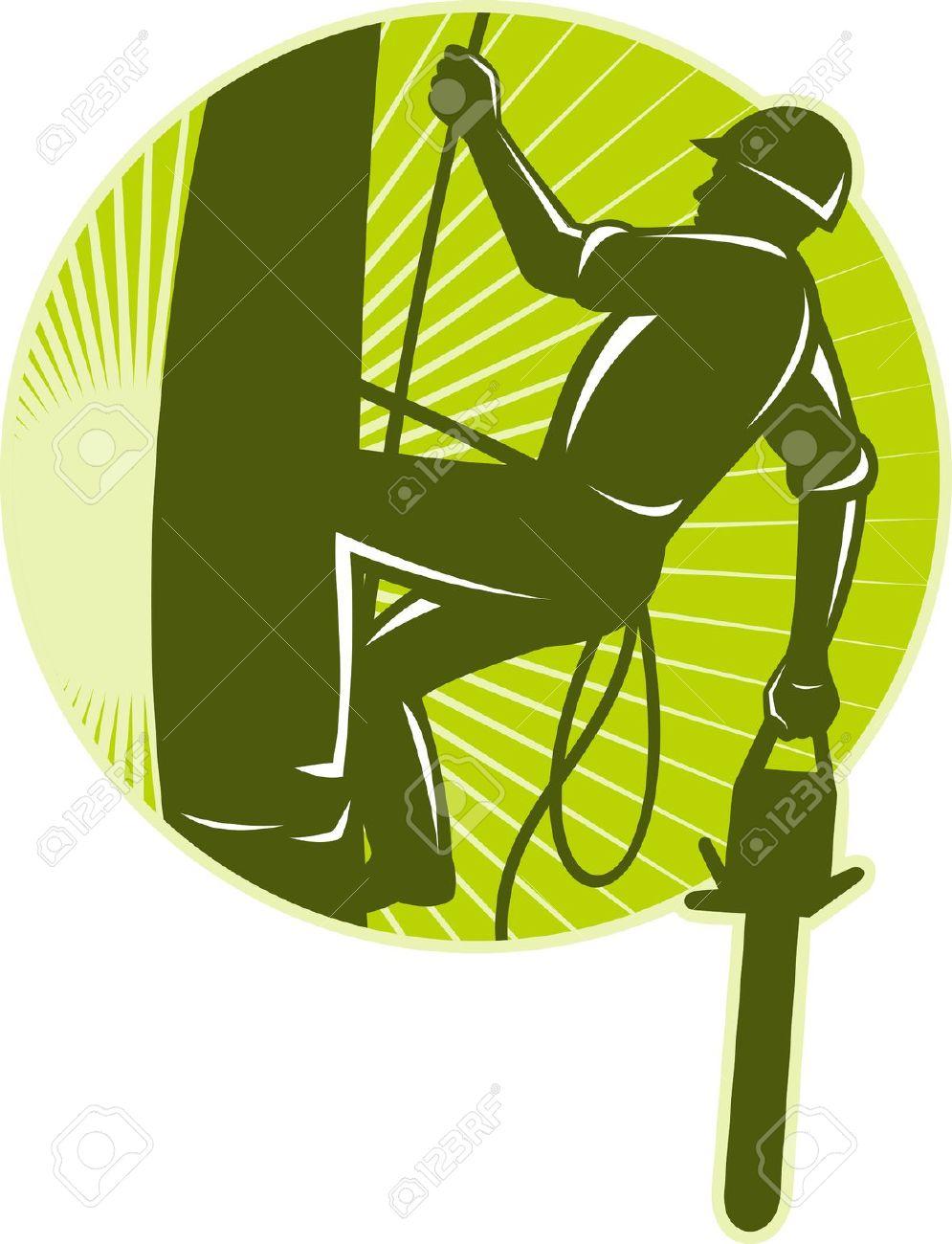 Illustration Of An Arborist Tree Surgeon With Chainsaw Climbing.