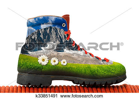 Clipart of Climbing Boot with Mountain Inside k33851491.