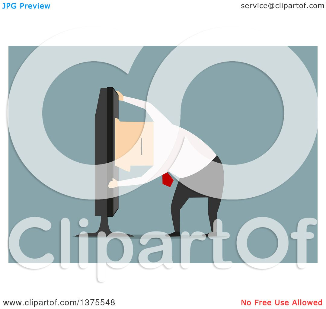 Clipart of a Flat Design White Business Man Climbing Inside a Tv.