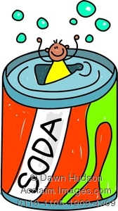 Clipart Image of A Happy Little Boy Climbing Inside A Giant Can Of.