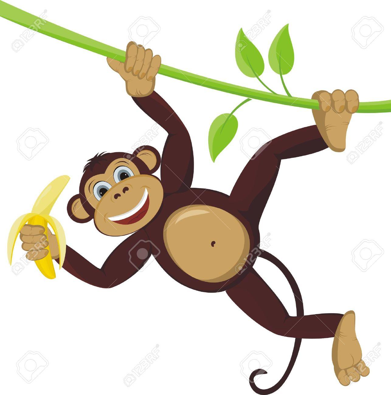 Monkey On Liana With Banana Royalty Free Cliparts, Vectors, And.