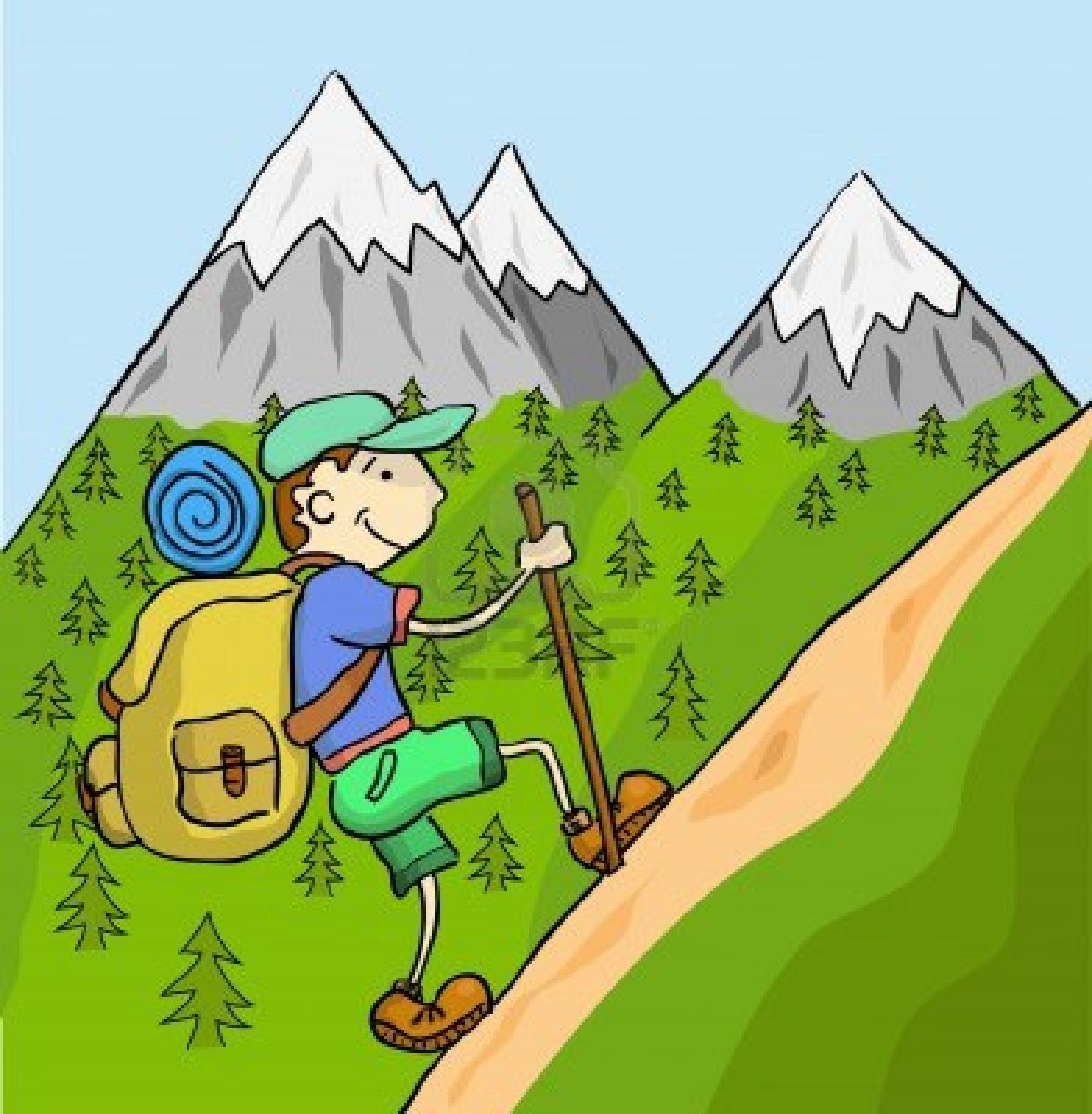 Man climbing mountain clipart.