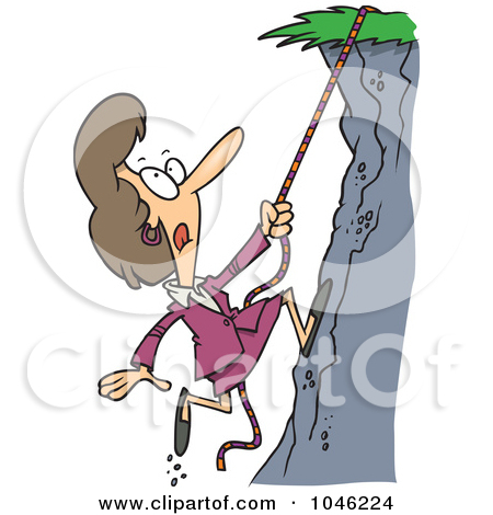 Clipart of a Cartoon Caucasian Boy Climbing a Mountain.