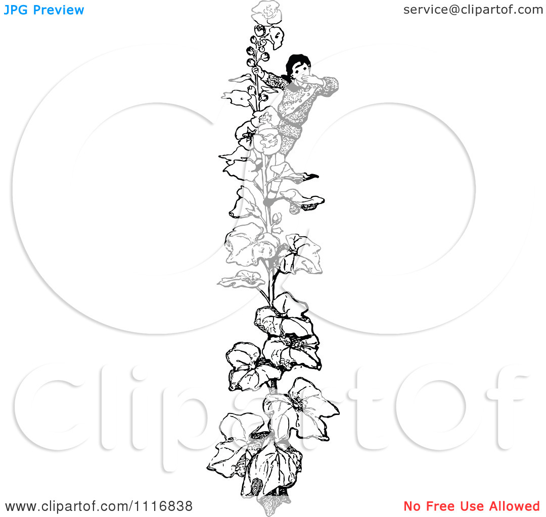 Clipart Of A Retro Vintage Black And White Boy Climbing A.