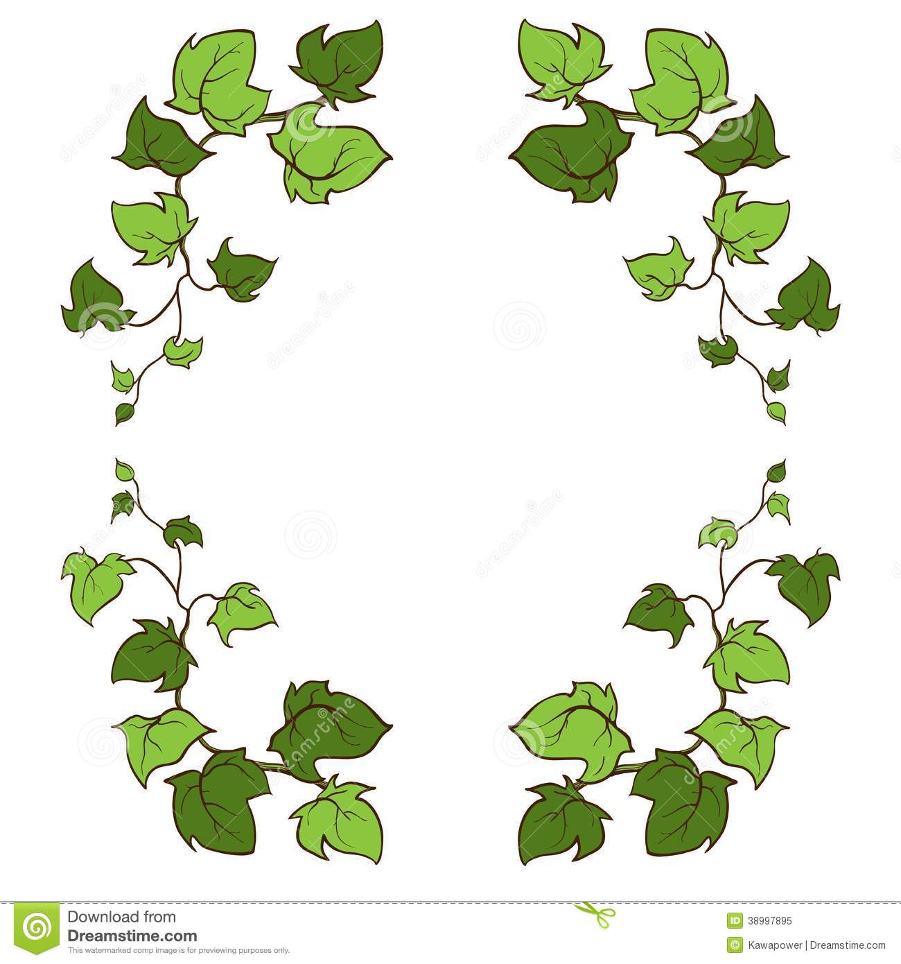 Ivy Vector Hand Drawn Frame. Stock Illustration.