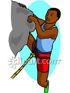 African American Man Rock Climbing Clipart Picture.