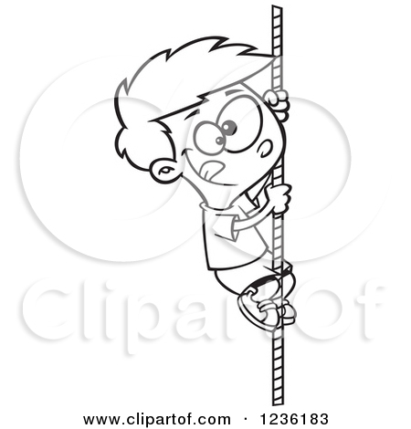 Clipart of a Black and White Athletic Boy Climbing a Rope.