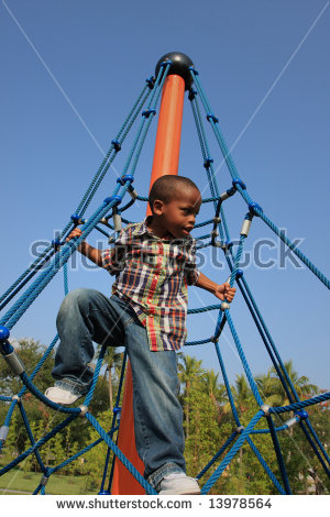 Boy Climbing Ropes Stock Photos, Royalty.