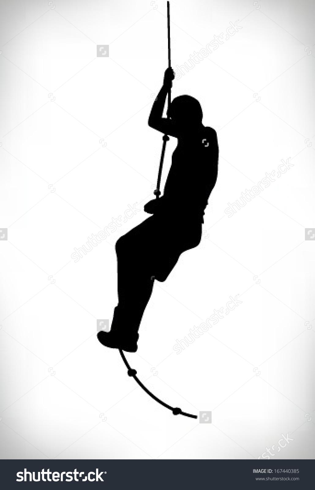 Silhouette Man Climbing Rope Stock Vector 167440385.