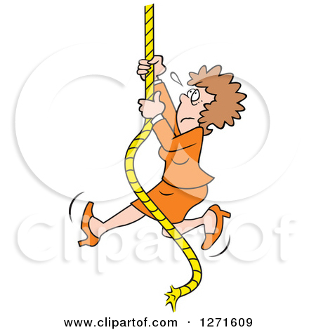 Clipart of an Uncertain Fearful Caucasian Man Climbing an Upward.