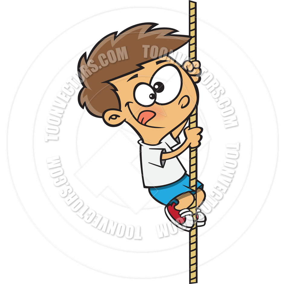 Cartoon Boy Climbing a Rope by Ron Leishman.
