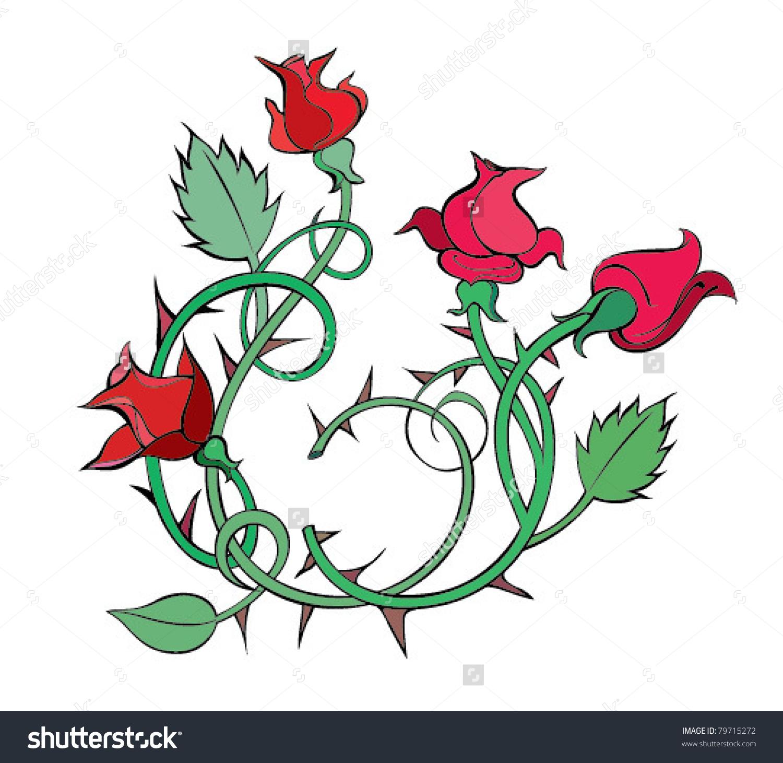 Climbing Roses Thorns Stock Vector 79715272.