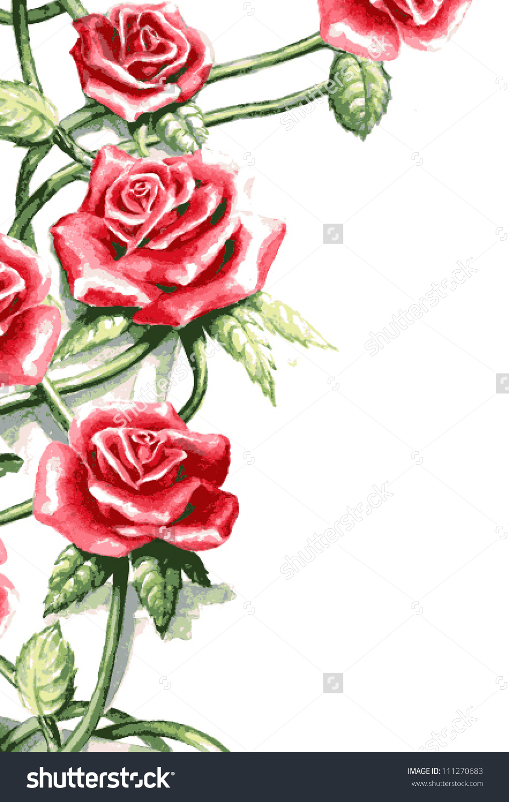 rose flowers clip art black and white