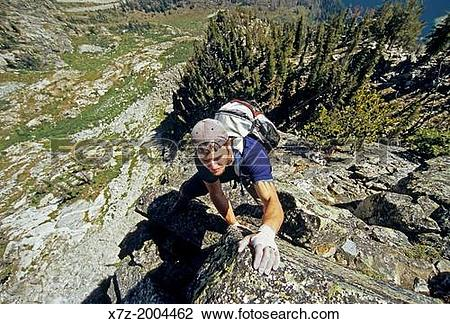 Stock Photo of rock climbing the East Ridge route which is rated 5.