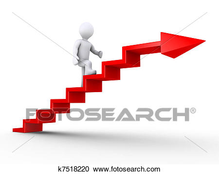 Climbing stairs of success Clipart.