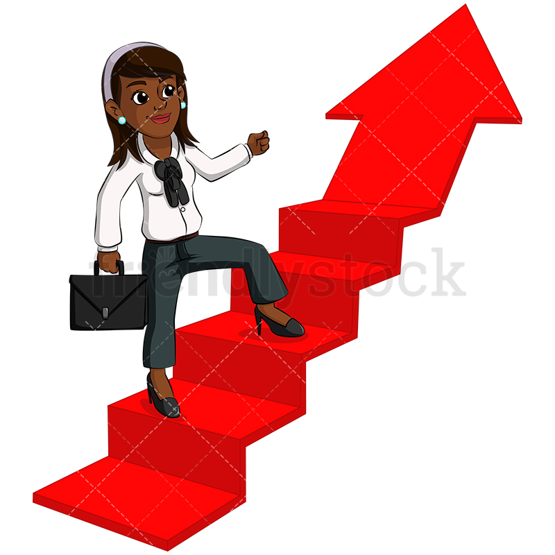 A Black Woman Climbing Arrow Shaped Stairs.