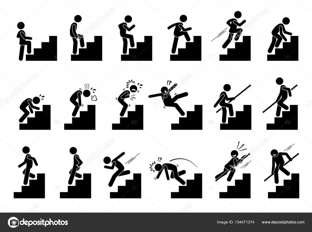 Clipart: climbing stairs.