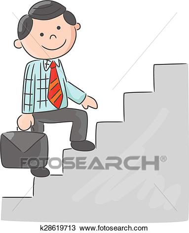 Cartoon man climbing stairs Clipart.